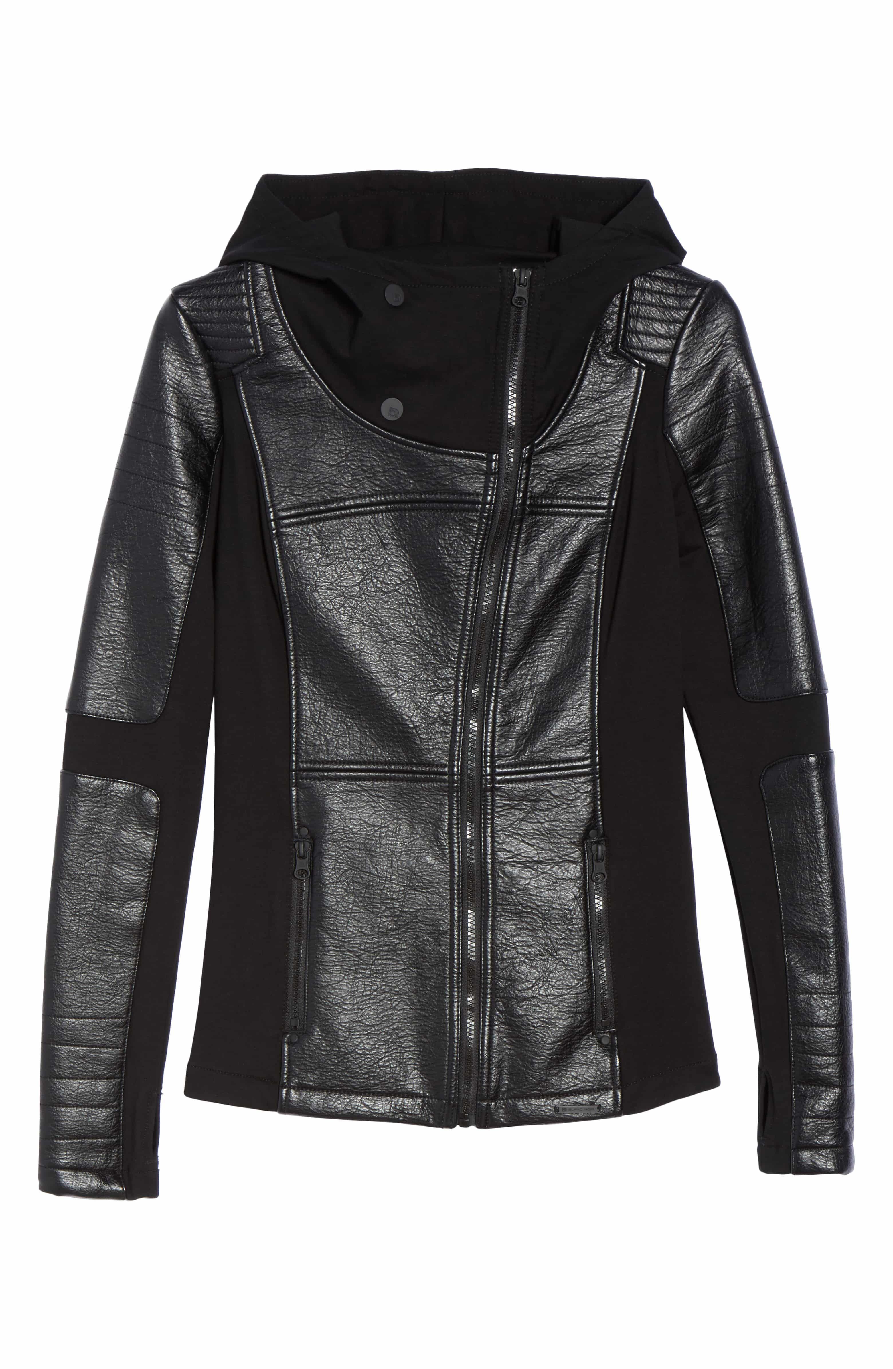 Faux Leather Hooded Moto Jacket, Alternate, color, BLACK