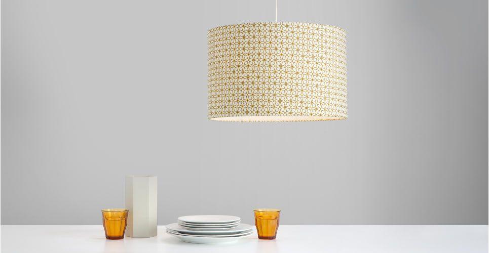 Lampenschirm Schlafzimmer ~ Etruria lampenschirm senfgelb und weiß design leuchten