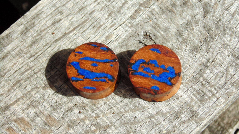 19mm Australian Eucalyptus Resin Burl Wood Ear Plugs Lapis Lazuli