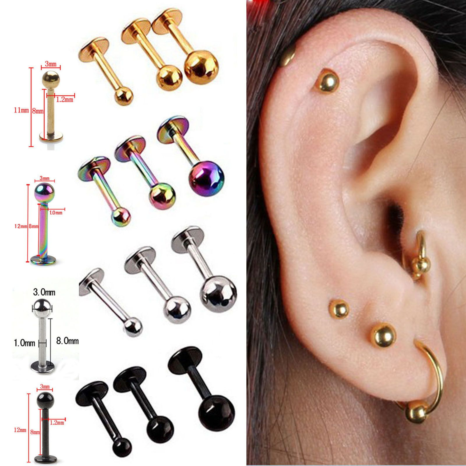 8848b0761 Best 5X Tragus Helix Bar - Cartilage Top Upper Ear Earring Labret Piercing  Jewel