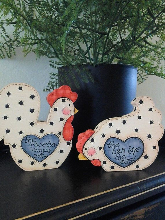 Primitive Country Hand Painted Wood Chicken and Rooster Set