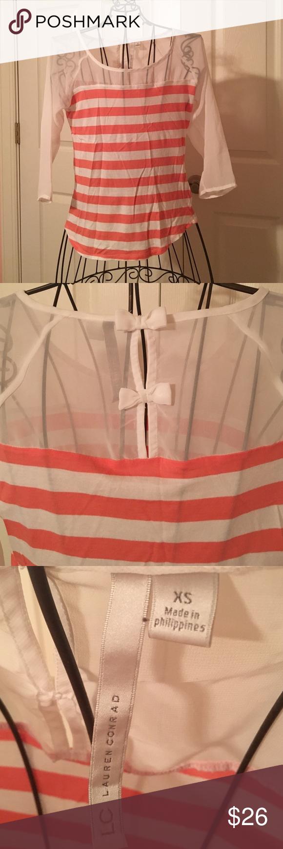 Lauren Conrad Stripped three-quarter sleeve Cute peach and white stripped three quarter sleeve shirt! By Lauren Conrad size XS! LC Lauren Conrad Tops