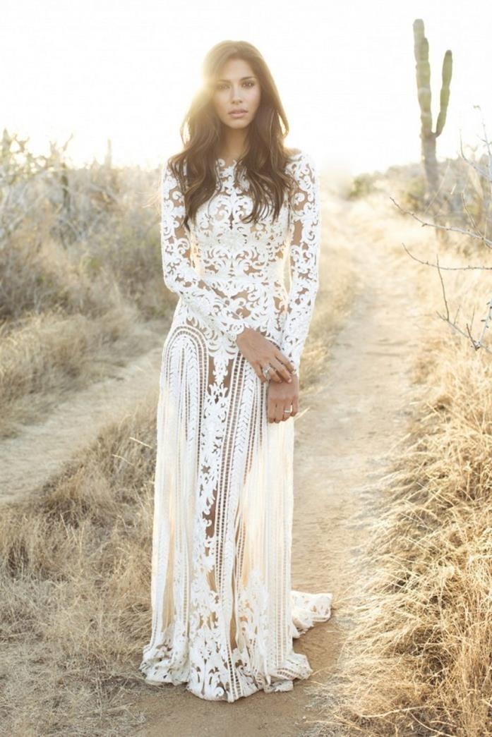 Boho Chic Wedding Dresses For Summer 2020 | FashionGum.com |Tahari White Dress Hippie Bohemian