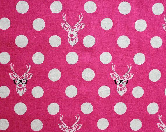 Japanese Fabric Kokka Echino Decoro Buck - pink. $10.00, via Etsy.