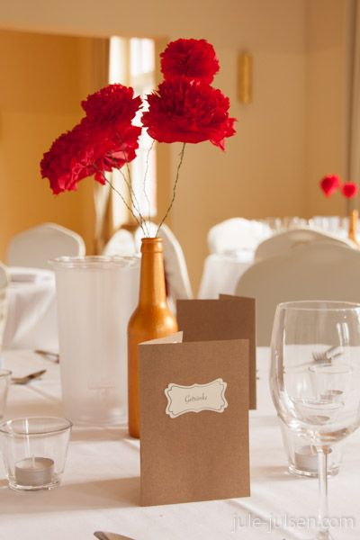 diy wedding decoration for dinner table red flower arrangement made rh pinterest com au Centerpiece Tissue Paper Lined Centerpiece Tissue Paper Lined