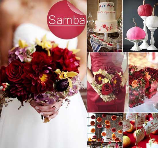 4 Blumen Herbst Hochzeit Rot Deko Torte Inspiration Trendfarbe 2013