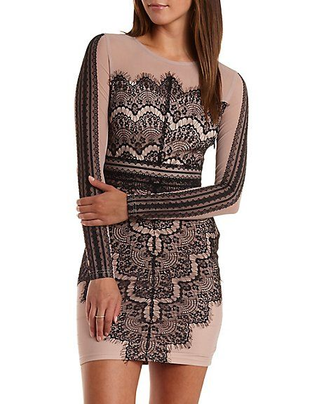 81de626a4aa Long Sleeve Bodycon Scalloped Lace Dress  Charlotte Russe  dress  bodycon   lace