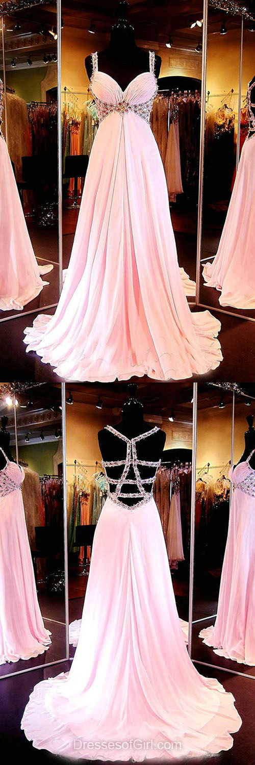 Pink Prom Dresses, Princess Party Dresses, V-neck Formal Dresses, Chiffon Beading Graduation Dress, Backless Homecoming Dresses