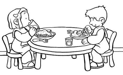 Kleurplaten Met Eten.Kleurplaat Eten En Drinken Aan Tafel Kleurplaat Aan Tafel Eten