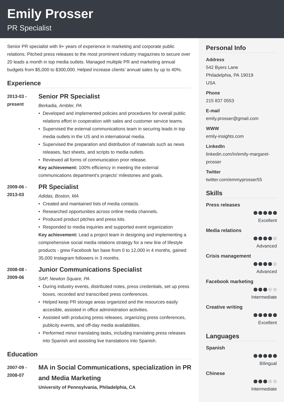 public relations resume template cubic in 2020 Resume