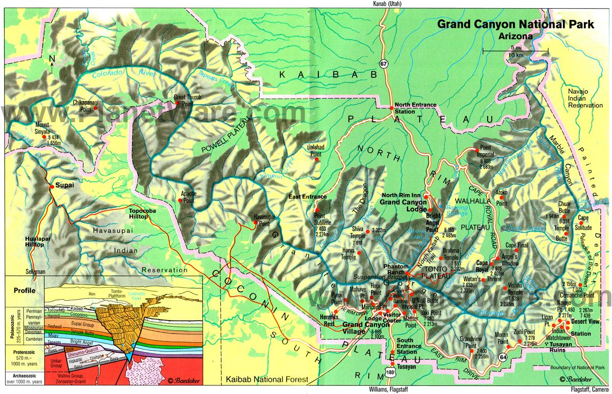 map of arizona  grand canyon national park  east  planetware  - map of arizona  grand canyon national park  east  planetware