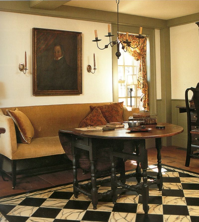 Colonial Home Decorating Ideas: Primitive Living Room, Early