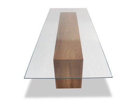 Glass Top   Solid Wood Dining Table Rectangular glass top dining table with  double-fold solid wood base. Dimensions  137