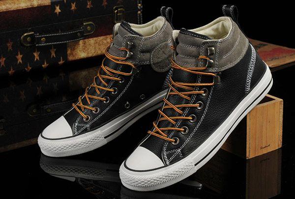 Cuero Nuevo estilo Converse Negro Gris Suede Padded Collar Altos tops zapatos  Chuck Taylor All Star