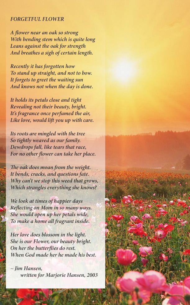 What a beautiful poem written by a son for his mom who had