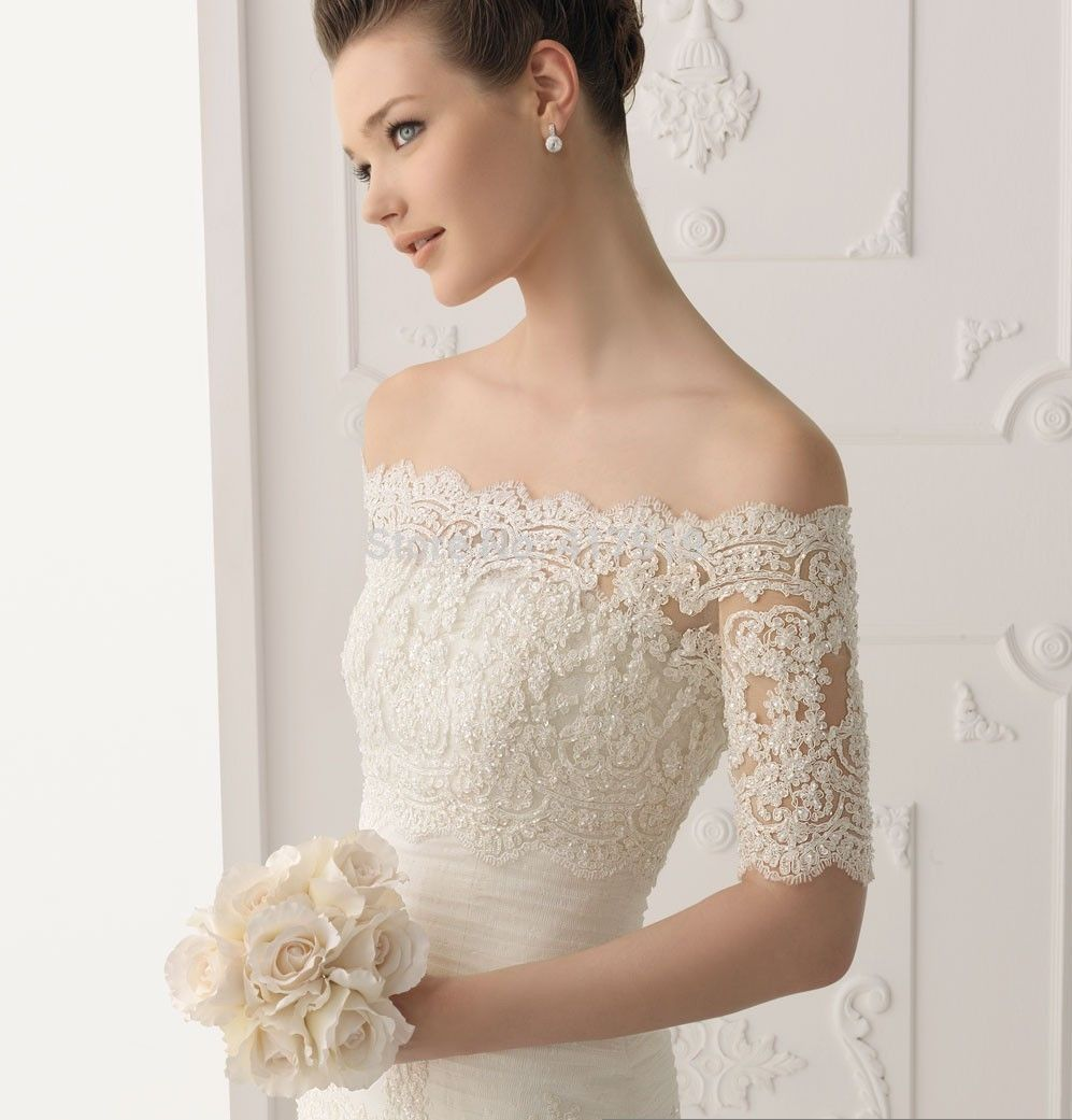Elegant Lace A Line Organza Strapless Natural Wedding Dresses