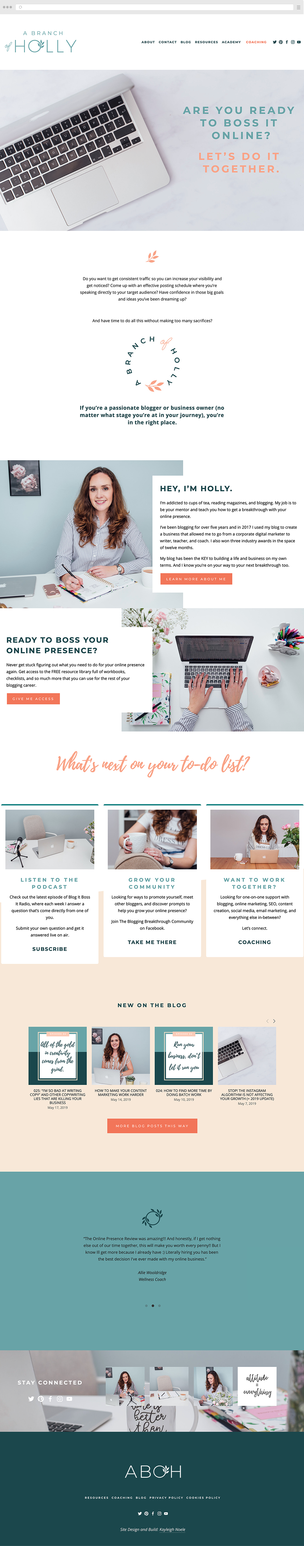 Squarespace Web Design Inspiration A Branch Of Holly Online Business And Blogging Co In 2020 Squarespace Web Design Portfolio Web Design Squarespace Website Design