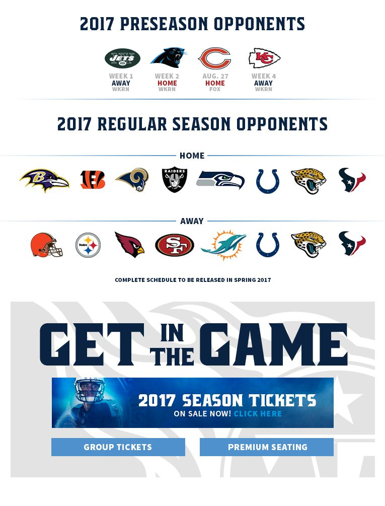 e7980656 Tennessee Titans 2017 preseason and regular season football schedule ...