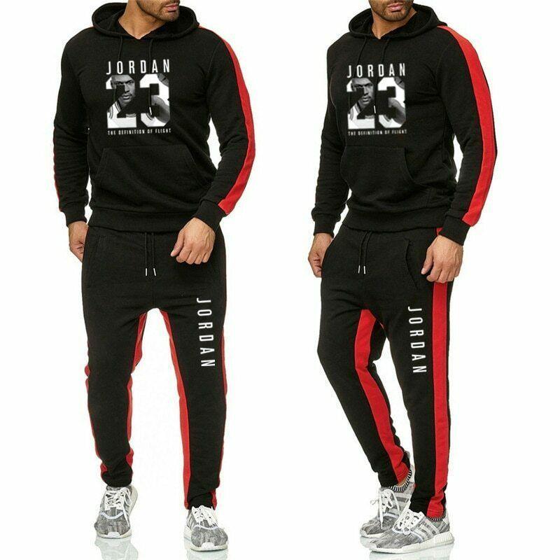 Mens Athletic Tracksuit Set Full Zip Print Hooded Sweatshirt Tops Pants Sportwear Sweat Suit -