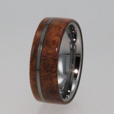 mens tungsten wedding rings tungsten ring wedding band wood ring - Exotic Wedding Rings