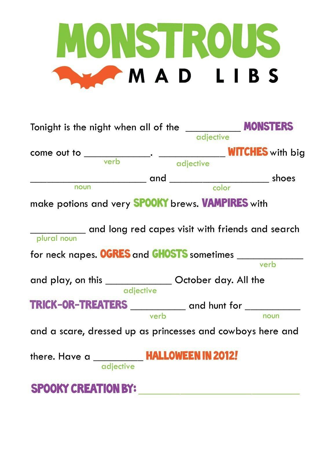 Pin by April Dikty ( Ordoyne) on Mad libs Halloween