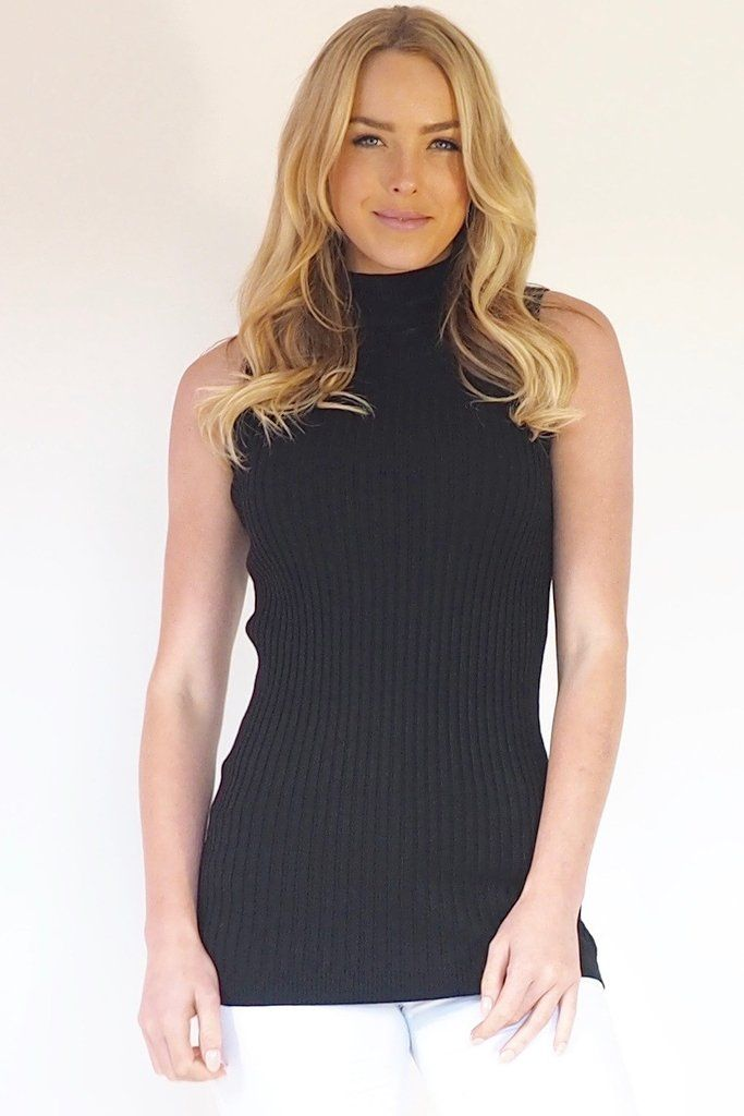 Annette Tank  Hi neck ribbed stretchy black sleeveless tank top. Pair with white jeans and out gorgeous Atlantic Lace Trim Kimono. Step out in full sophistication with a necklace and rings from our accessories collection.