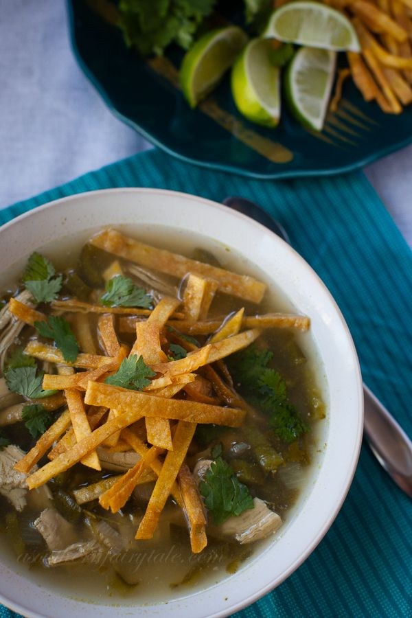 Poblano Chicken Soup. This is our family's new favorite soup!  Light, healthy, easy and delicious!  #soup #healthy #poblanos