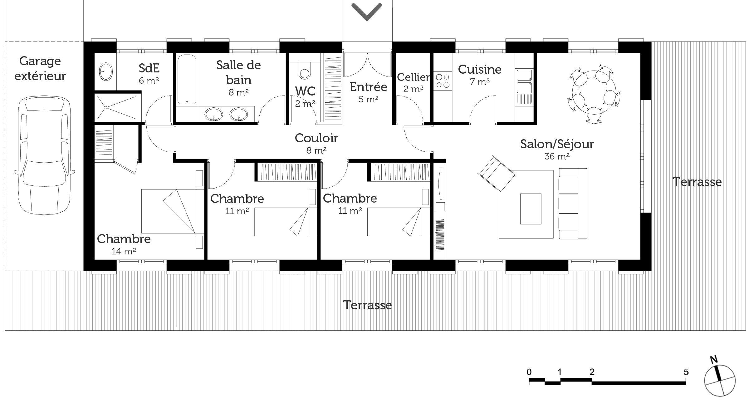 Plan de maison moderne plain pied 4 chambres plans maisons tout pour vos constructions maison et dépendance from plan de maison moderne plain pied 4