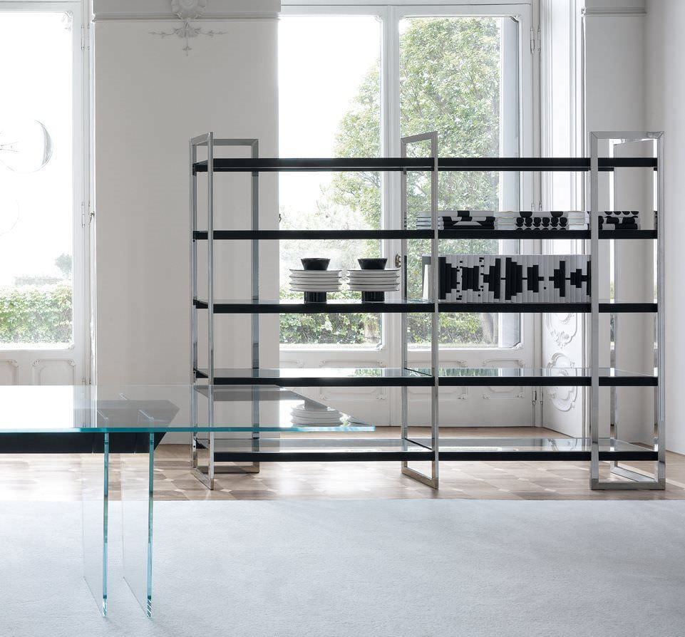Contemporary shelf / stainless steel / glass / wood DIPSY by ...