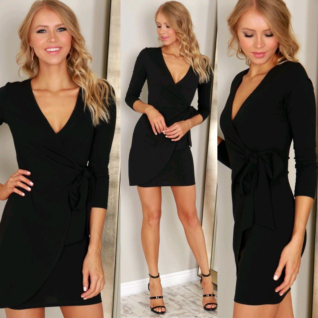 Long sleeve bodycon wrap dress black my style pinterest