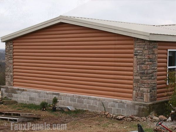 Faux Stone Panels Faux Brick Faux Wood Natural Look For Less Mobile Home Exteriors Log Cabin Exterior Mobile Home Siding