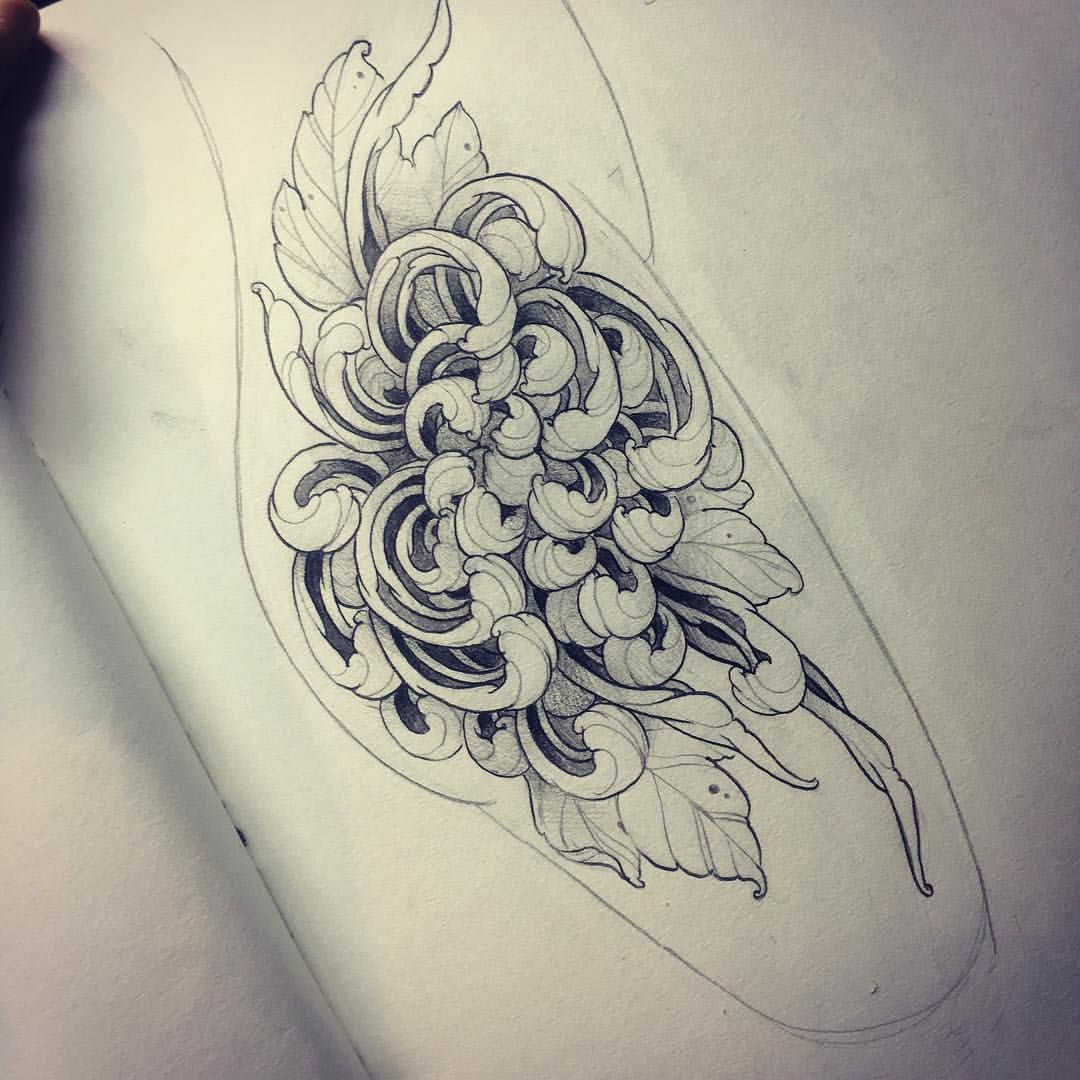 A Chrysanthemum Design Available To Tattoo In Black And Grey Or Colour Book In With Me Via Info Handsofgrace Chrysanthemum Tattoo Flower Tattoos Black Tattoos