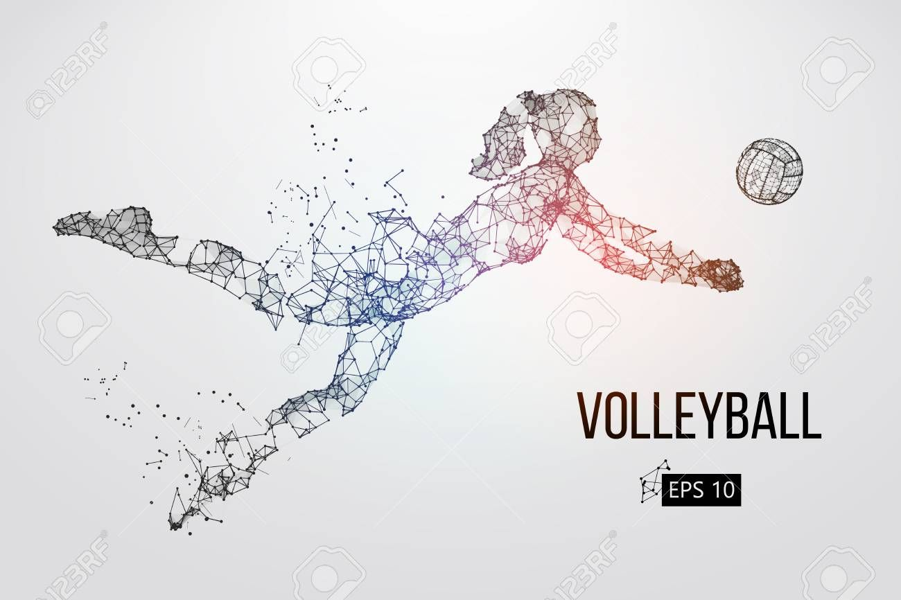 Silhouette Of Volleyball Player Vector Illustration Sponsored Volleyball Silhouette Player Ill Vector Illustration Volleyball Players Illustration