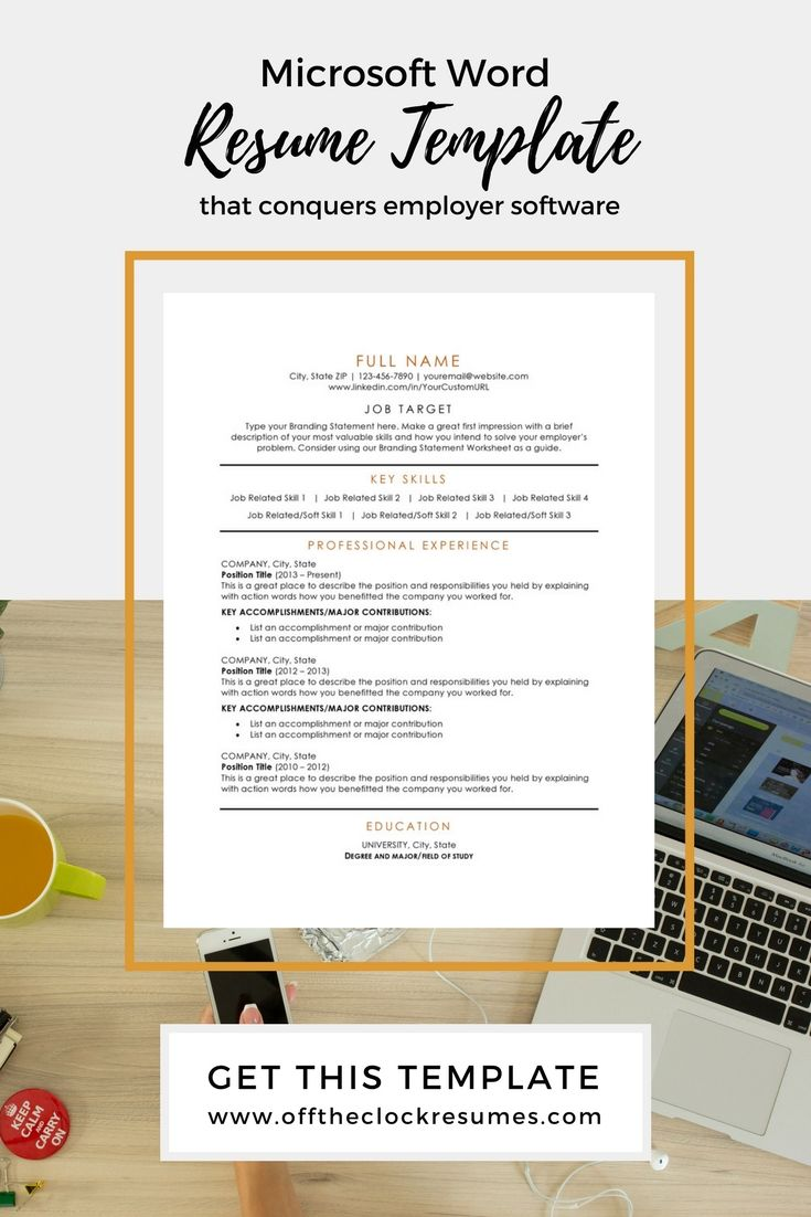 Resume Branding Statement Examples Pass Applicant Tracking Software With This Microsoft Word Resume .