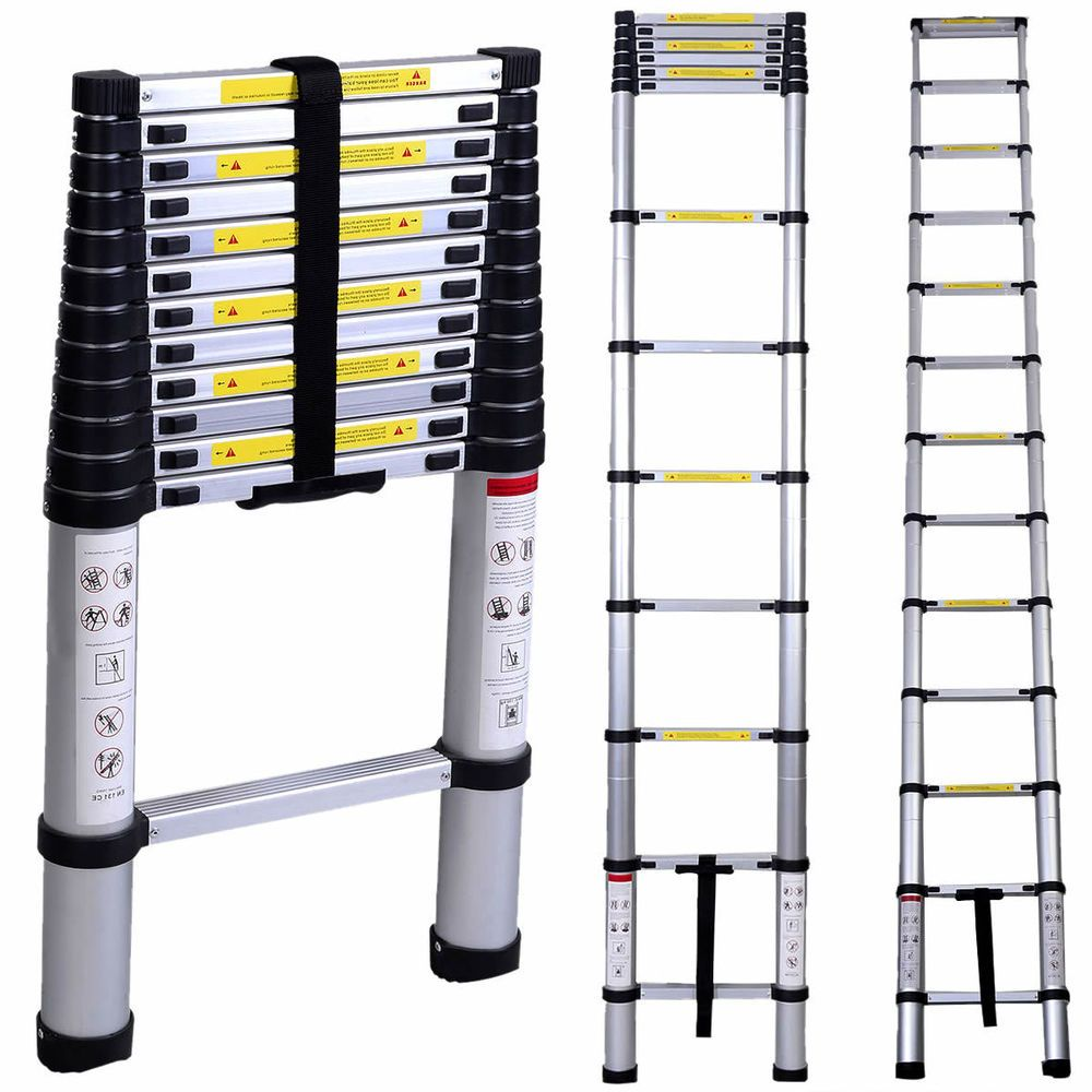 En131 12 5ft Aluminum Telescoping Telescopic Extension Ladder Tall Multi Purpose Telescopic Ladder Aluminium Ladder Multi Purpose Ladder
