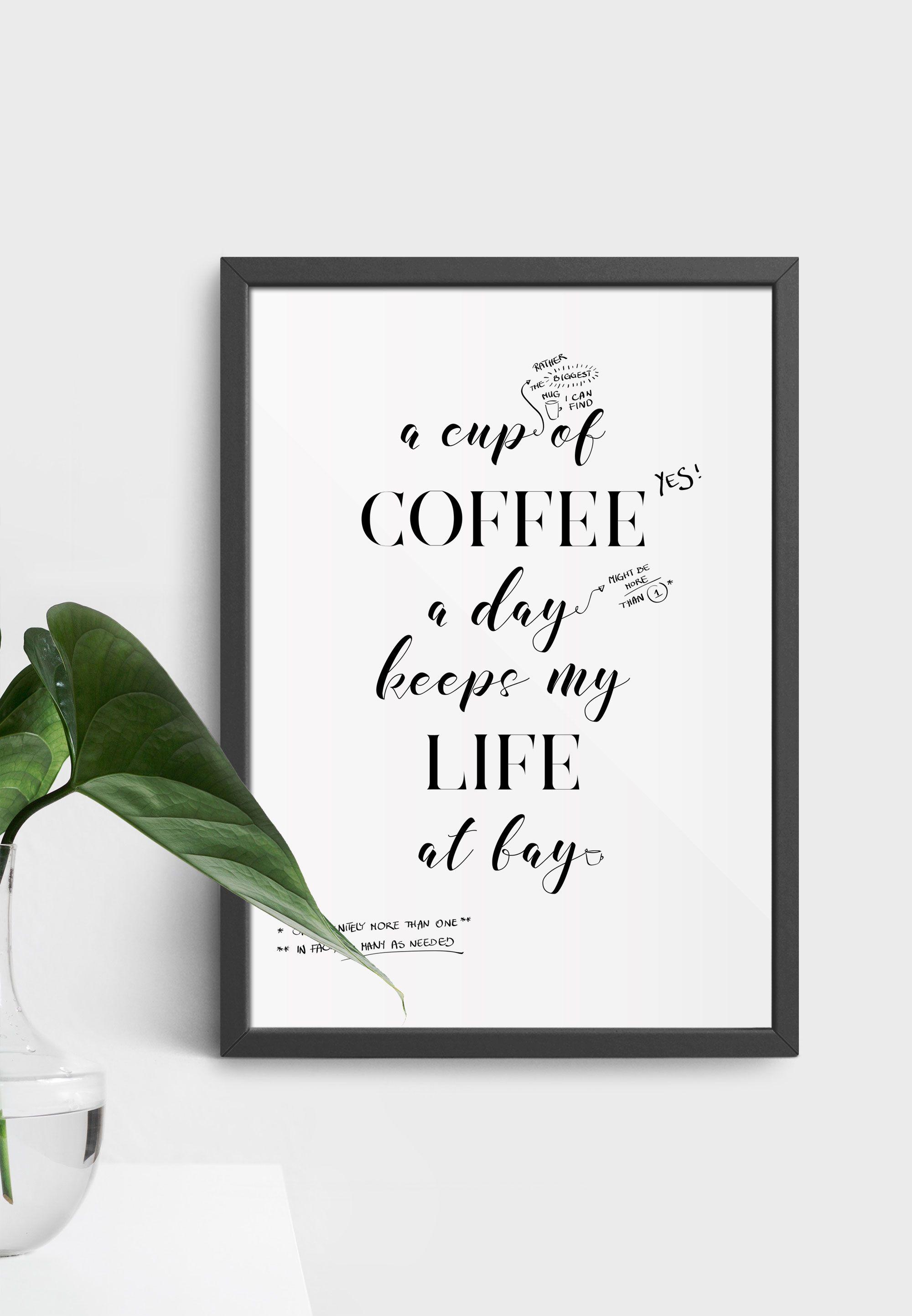 A cup of coffee motivational poster scandinavian motivational