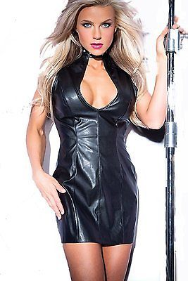 medium black allure leather faux leather studded dress