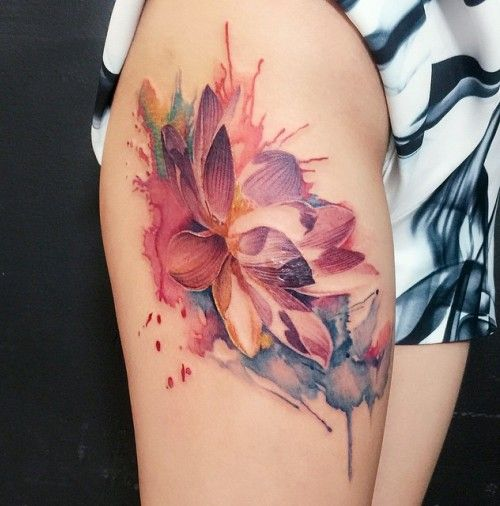35 stunning lotus flower tattoo design flower tattoos for Floral watercolor tattoo