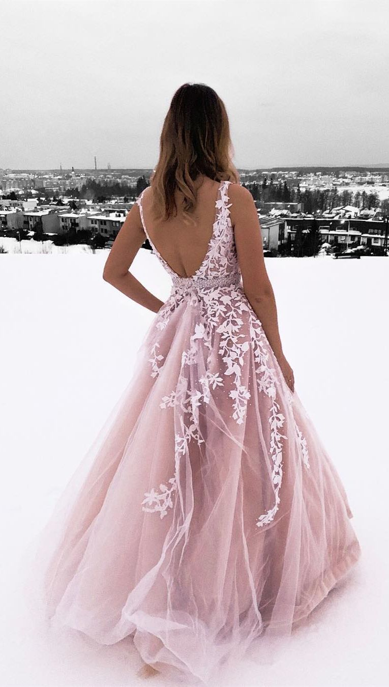 princess pink ball gown prom dresses, chic backless long prom