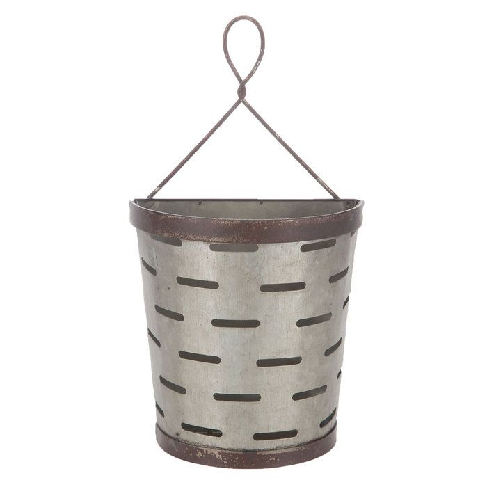 Slotted Galvanized Metal Wall Bucket Galvanized Metal Wall Galvanized Metal Olive Bucket