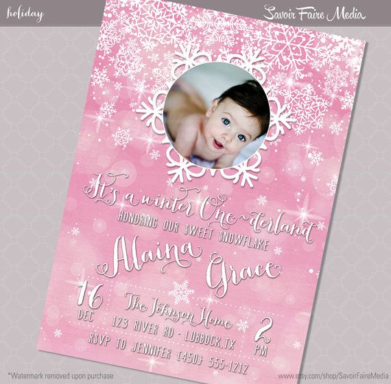 Winter One-derland Brithday Invitation Pink Girl    Onederland 1st - invitation for 1st birthday party girl