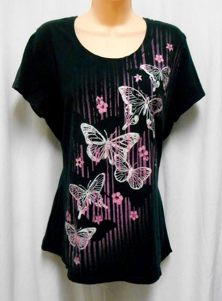 c818f616fb0f3a JMS Womens Black Pink Floral Butterfly Short Sleeve T-Shirt TOP Size 1X  #JMS #TShirt