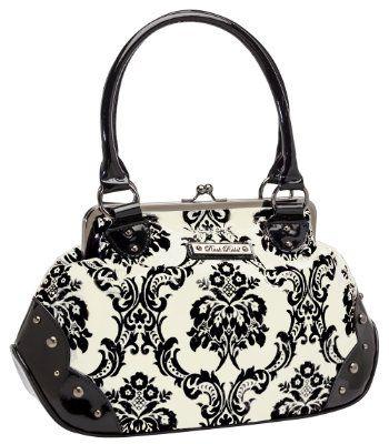 Rock Rebel Madame Moon Victorian Goth Damask Medium White Black Handbag Purse:Amazon:Clothing