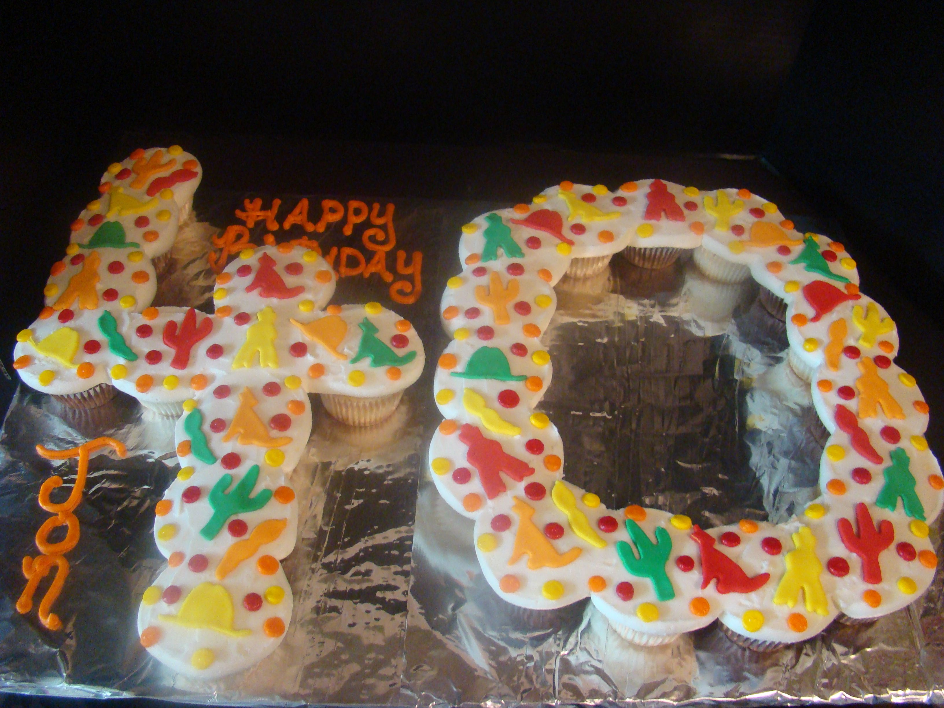 Not crazy about the Southwest theme, but I like number cakes.