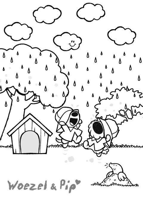 En Kleurplaten Herfst.Woezel En Pip Kleurplaat Pocasie Herfst Projecten Regen