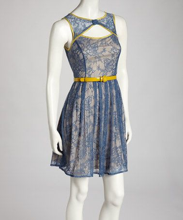 Take a look at this Blue Lace Belted Dress by Ryu on #zulily today!