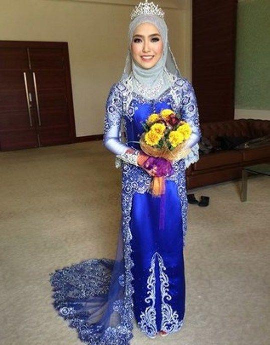 Baju Kebaya Pengantin Muslim Warna Biru Kebaya In 2019 Kebaya