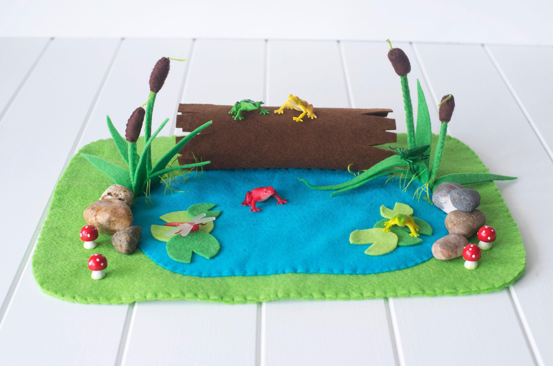 Frog Pond Play Mat Felt Playscape Small World Etsy Felt Play Mat Felt Toys Felt Crafts