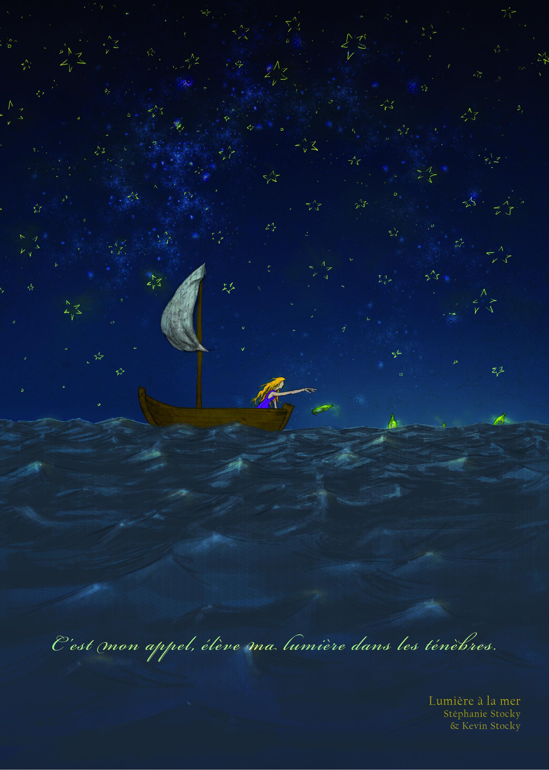 Illustration créée en novembre-décembre 2015 Chemin de la vie - lumière à l'océan.