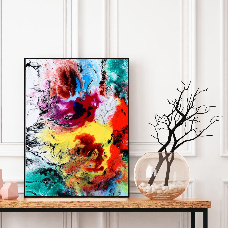 Abstract Wall Art Decor Digital Download Multicolour Canvas